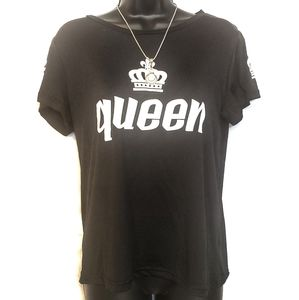 FancyQube Queen and Crown Tee Tshirt Black Large
